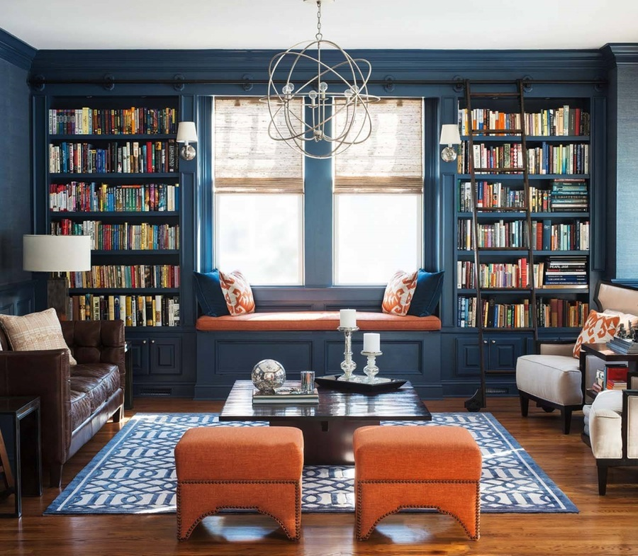 Phòng sách cần phối hợp hài hòa giữa tường và ánh sáng ( Ảnh: internet)