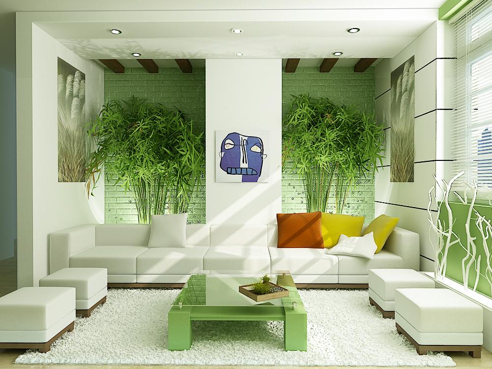 Cây xanh trong phòng khách ( Ảnh :signaturekitchen.blogspot.com/)