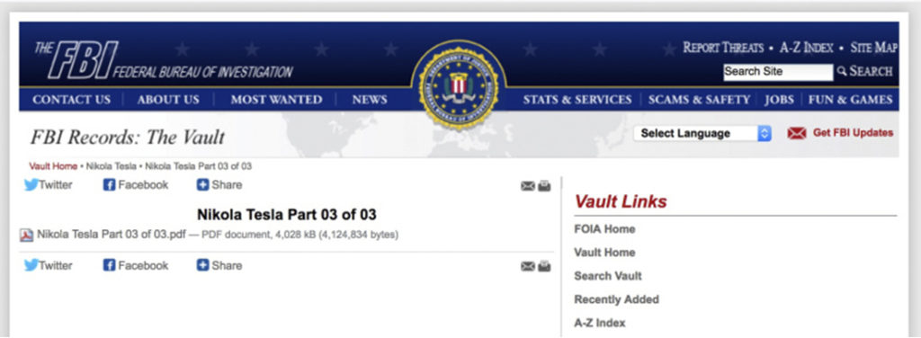 """Tài liệu này có tên """"Nikola Tesla Phần 03 của 03"""" là tài liệu thứ ba về Tesla được FBI giải mã, tổng cộng 64 trang, một số nội dung trong đó đã bị bôi đen."""